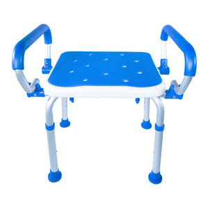 Front View of Padded Bath Safety Seat With Swing Away Arms
