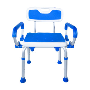 Front View of Padded Bath Safety Seat With Back and Swing Away Arms
