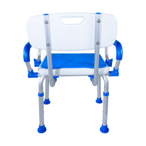 Rear View of Padded Bath Safety Seat With Back and Swing Away Arms