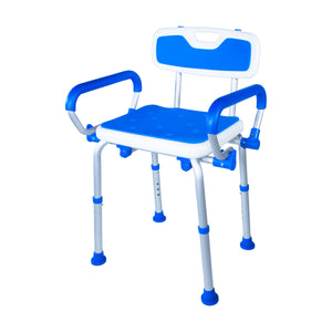Padded Bath Safety Seat With Back and Swing Away Arms With Legs Extended