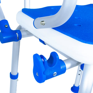 Close Up of Padded Bath Safety Seat With Back and Swing Away Arms Arm Lock