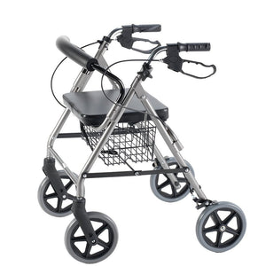 Rollator with Curved Backrest with Collapsed Handles