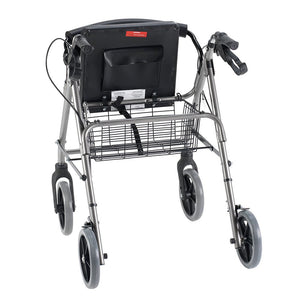 Rear View of Rollator with Curved Backrest with open container