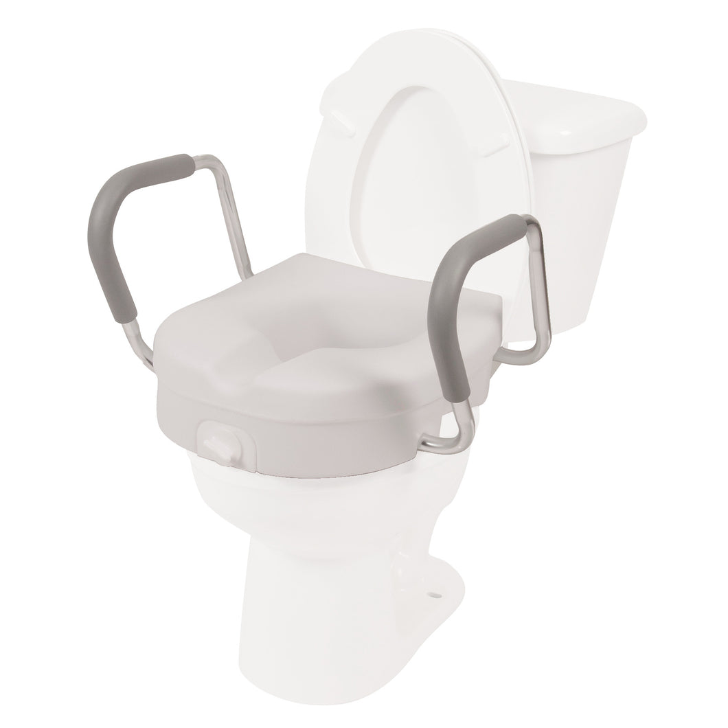 Molded Raised Toilet Seat with Removable Arms on Toilet