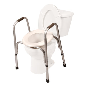 Raised Toilet Seat with Safety Frame On Toilet