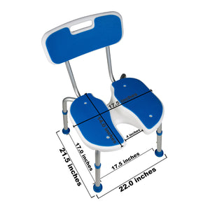 Top of Padded Bath Shower Safety Seat with Hygienic Cutout and Backrest with Dimensions