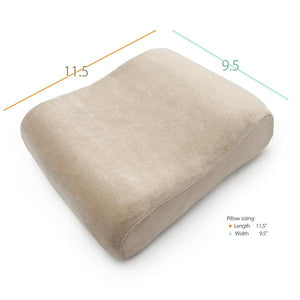 "Top of Travel Size Memory Foam Cervical Pillow with Measurements (11.5""-9.5"" Wide)"