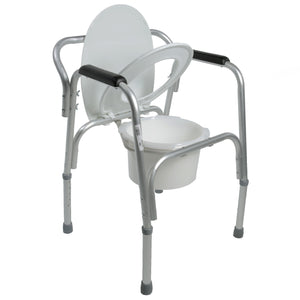 Open Lightweight Bedside Commode with Pail and Removable Backrest with Seat Semi-Up