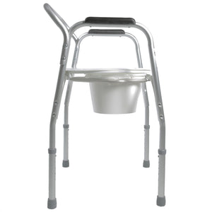Side View of Lightweight Bedside Commode with Pail and Removable Backrest, Legs Extended