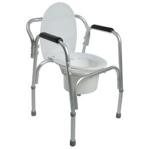 Open Lightweight Bedside Commode with Pail and Removable Backrest with Seat Down