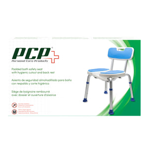 Padded Bath Shower Safety Seat with Hygienic Cutout and Backrest Packaging