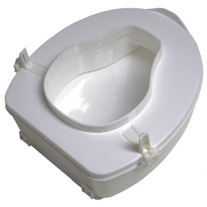 "Side/Bottom 4"" Molded Raised Toilet Seat with Lid"