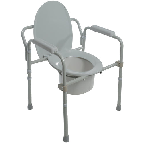 Folding Steel Commode with Seat Down