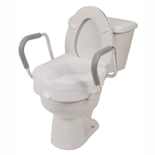 Molded Raised Toilet Seat with Removable Arms on Grey Toilet