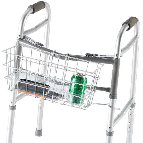 Wire Basket for Dual Release Walker Attached to a Walker Holding Various Items