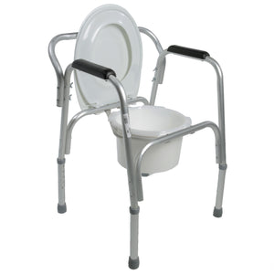 Open Lightweight Bedside Commode with Pail and Removable Backrest