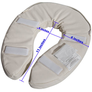 "Bottom of Toilet Seat Cushion with Measurements (4"" Hole, 4"" Seat, 11"" From Front to Back of Hole)"