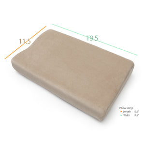 "Top of Full Size Memory Foam Cervical Pillow with Measurements (11.5"" X 19.5"")"
