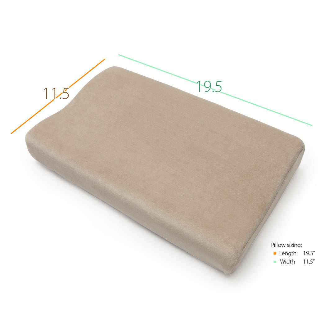 Top of Full Size Memory Foam Cervical Pillow with Measurements (11.5