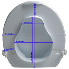 "4"" Molded Raised Toilet Seat with Lid and Measurements"