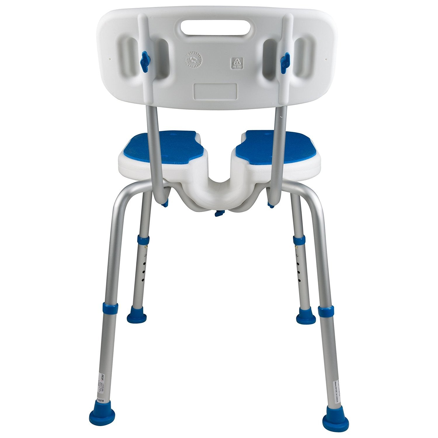... PCP 7105, Adjustable Padded Bath Safety Seat With Hygienic Cutout With  Backrest ...