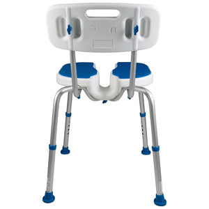 Back of Padded Bath Shower Safety Seat with Hygienic Cutout and Backrest