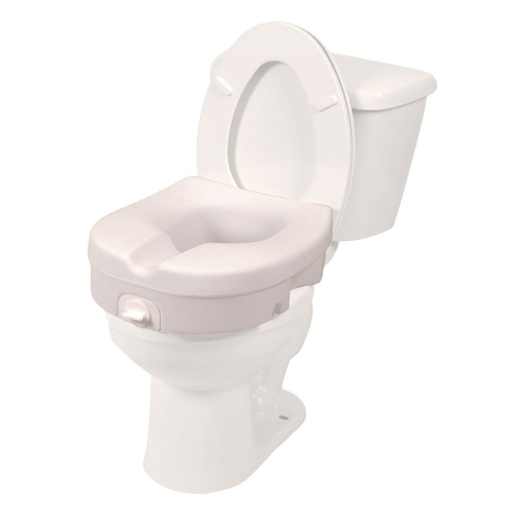Molded Raised Toilet Seat with Tightening Lock on Toilet