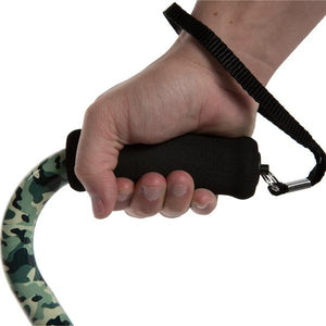 Close-up On Hand Clutching Adjustable Green Camo Pattern Offset Handle Cane Handle
