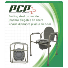 Front View of Folding Steel Commode Packaging