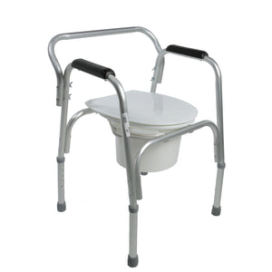 Closed Lightweight Bedside Commode with Pail and Removable Backrest
