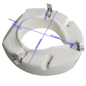 "Bottom of 5"" Universal Raised Toilet Seat with Measurements (Seat is 15.5"" X 17"")"
