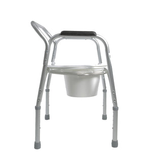 Side View of Lightweight Bedside Commode with Pail and Removable Backrest