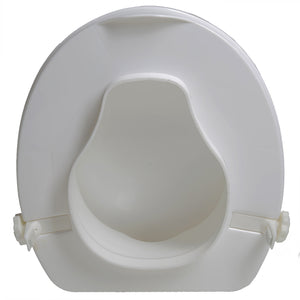 "Bottom of 4"" Molded Raised Toilet Seat with Lid"