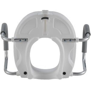 Bottom of Molded Raised Toilet Seat with Removable Arms