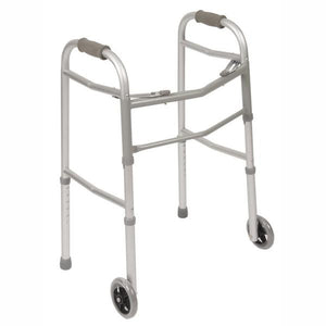 Double Button Folding Walker with Wheels
