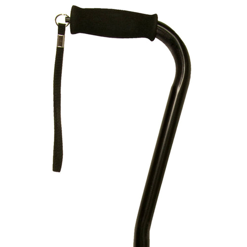 Close Up On Black Satin Adjustable Offset Handle Cane with Soft Grip and Wrist Strap