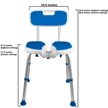 Front of Padded Bath Shower Safety Seat with Hygienic Cutout and Backrest with Dimension