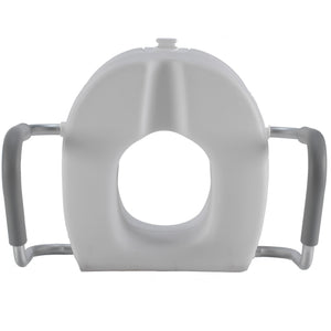 Top of Molded Raised Toilet Seat with Removable Arms