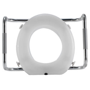 Top of Adjustable Raised Toilet Seat with Arms