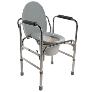 PCP 5028, Drop-Arm Adjustable Commode With Grey Lid
