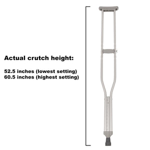 Adult Tall Push-Button Crutches With Measurements
