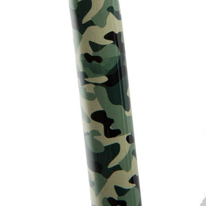 Close-up On Adjustable Green Camo Pattern Offset Handle Cane Shaft