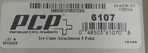 Ice Cane Attachment Product Number and Bottom of Packaging