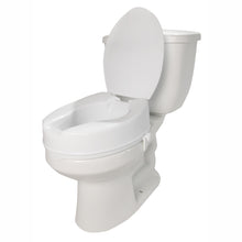 "4"" Molded Raised Toilet Seat with Lid on Toilet"