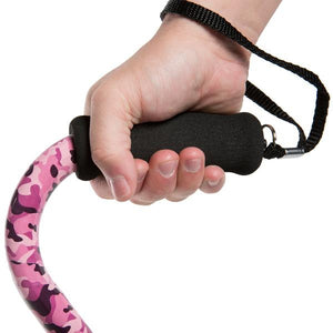 Close-up On Hand Clutching Adjustable Pink Camo Pattern Offset Handle Cane Handle