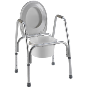 3-in-1 Aluminum Commode with Seat Up
