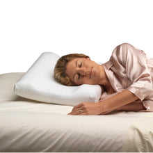 Woman Laying On Carved Foam Cervical Pillow