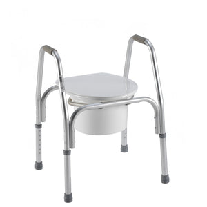3-in-1 Aluminum Commode with Lid Down