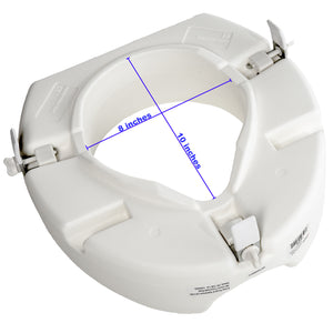 "Bottom of 5"" Universal Raised Toilet Seat with Measurements (Hole is 8"" X 10"")"