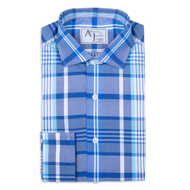 Blue Large Checked Bespoke Shirt